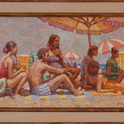 Familia en la playa | Óleo sobre tabla | 55x33