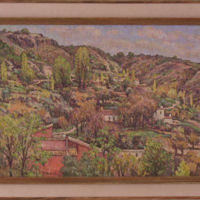 La casa roja en Güéjar Sierra | Óleo sobre tabla | 60x45