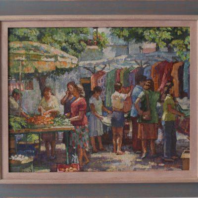Mercadillo de ropa y fruta | Óleo sobre lienzo | 60x48