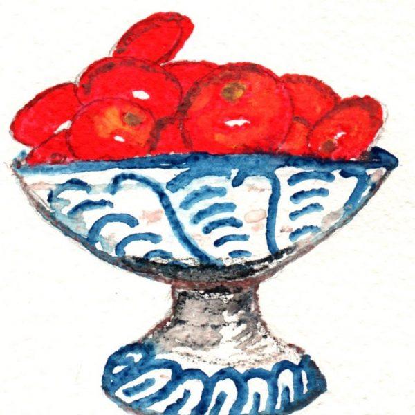 Cerámica granaina con tomates. 14x10cm. 60e.