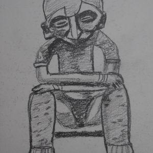 El hombre sedente de Nayarit. 21x15 cm. 80 e.