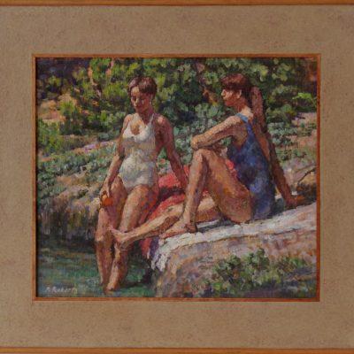 Bañistas en el río Maitena | Óleo sobre tabla | 38x33