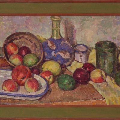 Bodegón con florero azul | Óleo sobre tabla | 45x30