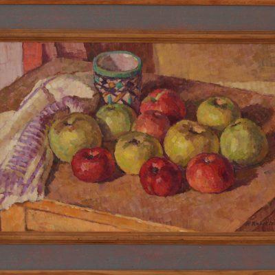 Bodegón con manzanas y copa de Fez | Óleo sobre tabla | 38x25