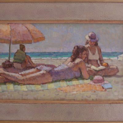 Leyendo en la playa | Óleo sobre tabla | 36x22