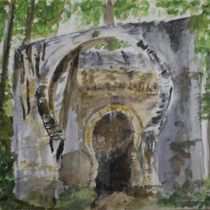 La puerta de Bibarrambla en el paseo de las alamedas de la Alhambra | 23x30