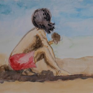 Niño jugando en la arena. 15x19 cm. 90 e.