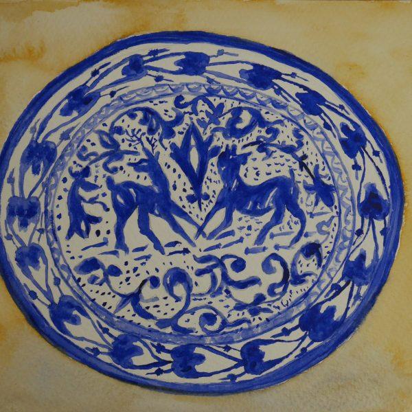 Plato de cerámica granadina. 23x32