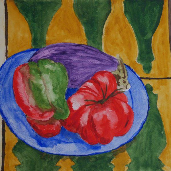 Verduras sobre una mesa de azulejos de Fez. 24x32