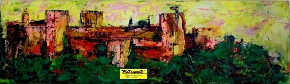 13. Alhambra amarillo primavera. Makanguipy. Acrílicos sobre tabla DM. 19x61 cm. 500 euros