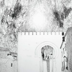 4. Puerta de Elvira. Amalia. Tinta. 28,5x25,5 cm.
